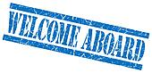 welcome aboard blue square grunge textured isolated stamp