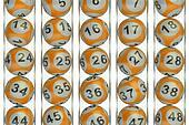 Set of orange lottery balls concept