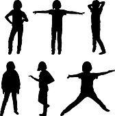 Little or teenage girls silhouettes set, vector illustration