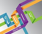 Happy New Year 2014 colorful origami illustration