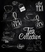 Set of tea collection. Chalk.