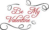 Calligraphic header Be My Valentine