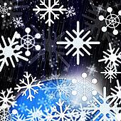 Snowflakes Background Shows Snowing From Sky And Cold