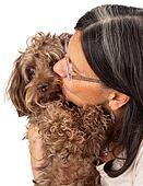 Woman Kissing Dog Companion