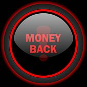 money back black and red glossy internet icon on black background