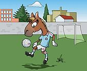 Horse playing soccer