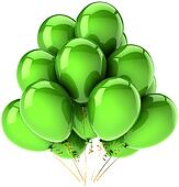 Birthday balloons colored green