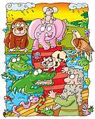 Noah, animals climb on, Ark.