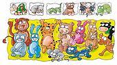 animal bat, rabbit, tiger, cow, mou