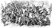Bacchanalia, a wild and mystic festivals of the Greco-Roman god Bacchus vintage engraving.