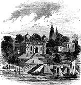 Bithoor, Ghat, Ganges, Kanpur, Uttar Pradesh,  India, vintage engraving.