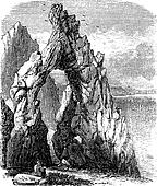 Capri, Italy, in the Tyrrhenian Sea. Natural rock arch or gaunt rock vintage engraving