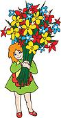 Smiling little girl holding huge bouquet of flowers
