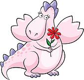 Cute pink dragon with flower