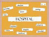 Hospital Corkboard Word Concept