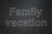 Tourism concept: Family Vacation on chalkboard background