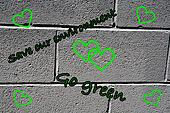 go green grafiti art brick wall