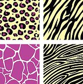 Pink & yellow animal leopar, tiger, zebra and giraffe pattern /