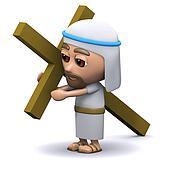 3d Jesus carrying the cross