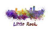 Little Rock skyline in watercolor