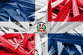 Dominican Republic Flag on cannabis background. Drug policy. Legalization of marijuana