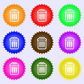 the trash icon sign. A set of nine different colored labels.