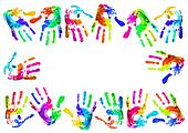 Multi coloured handprints