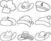 Hats, set contours