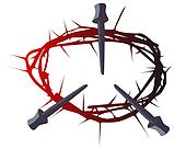 black and red silhouette of a crown of thorns with three nails
