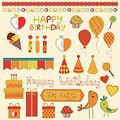 Retro Birthday Celebration Design Elements