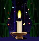 candle and butterfly