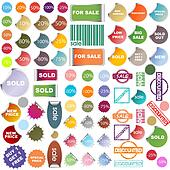 Colored promotional stickers and stamps