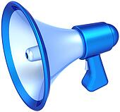 Megaphone learning icon cyan