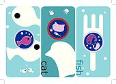 Abstract cute cat and fish illustra