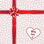 Hearts gift wrap with bow