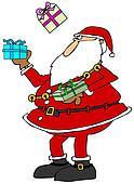 Santa juggling packages