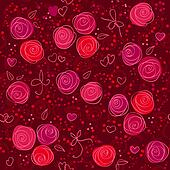 seamless floral red background