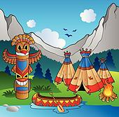 Indian village with totem and canoe