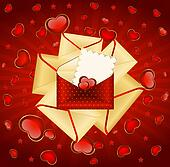envelopes with red hearts.