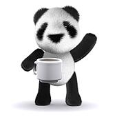 3d Baby Panda tea break