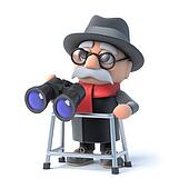 3d Grandpa with walking frame looks through binoculars