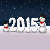 Cute Snowmen 2015 Illustration