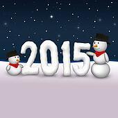 Cute Snowmen 2015 Illustration