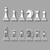 chess pieces including king, queen, rook, pawn, knight, and bishop