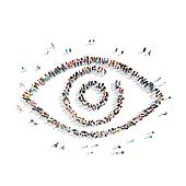 people in the shape of an eye.
