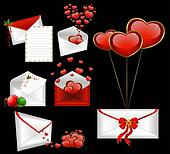 envelopes with red hearts