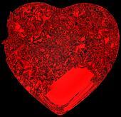 Red Broken crystal Heart: unrequited love