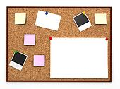 Corkboard with paper sticker