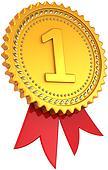 First place award ribbon golden