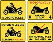 Motorcycle - set of road sign.